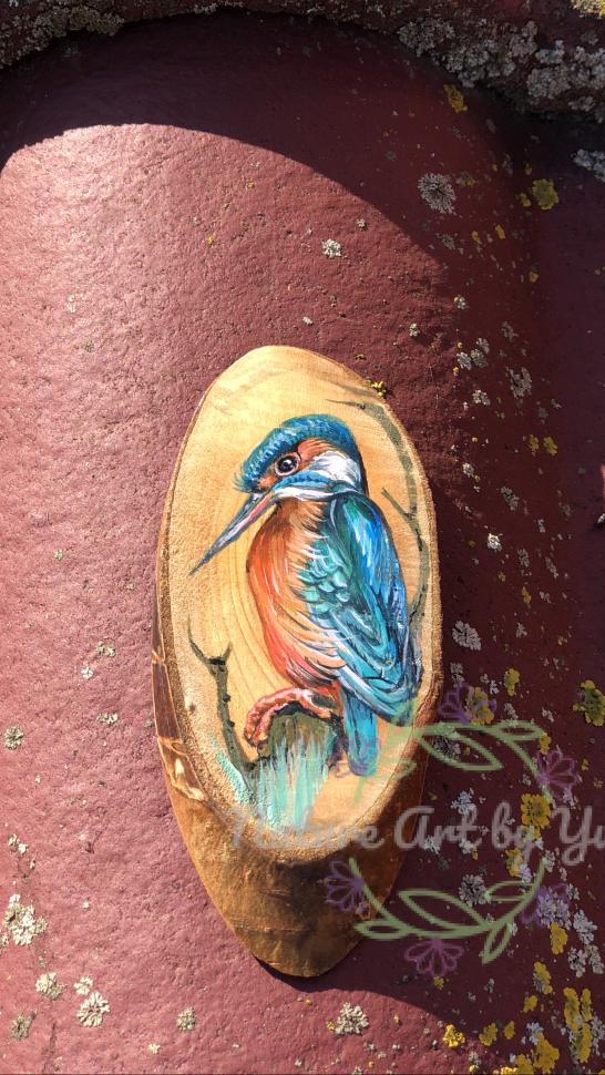 Little Kingfisher Acrylic Painting On Wood Slice